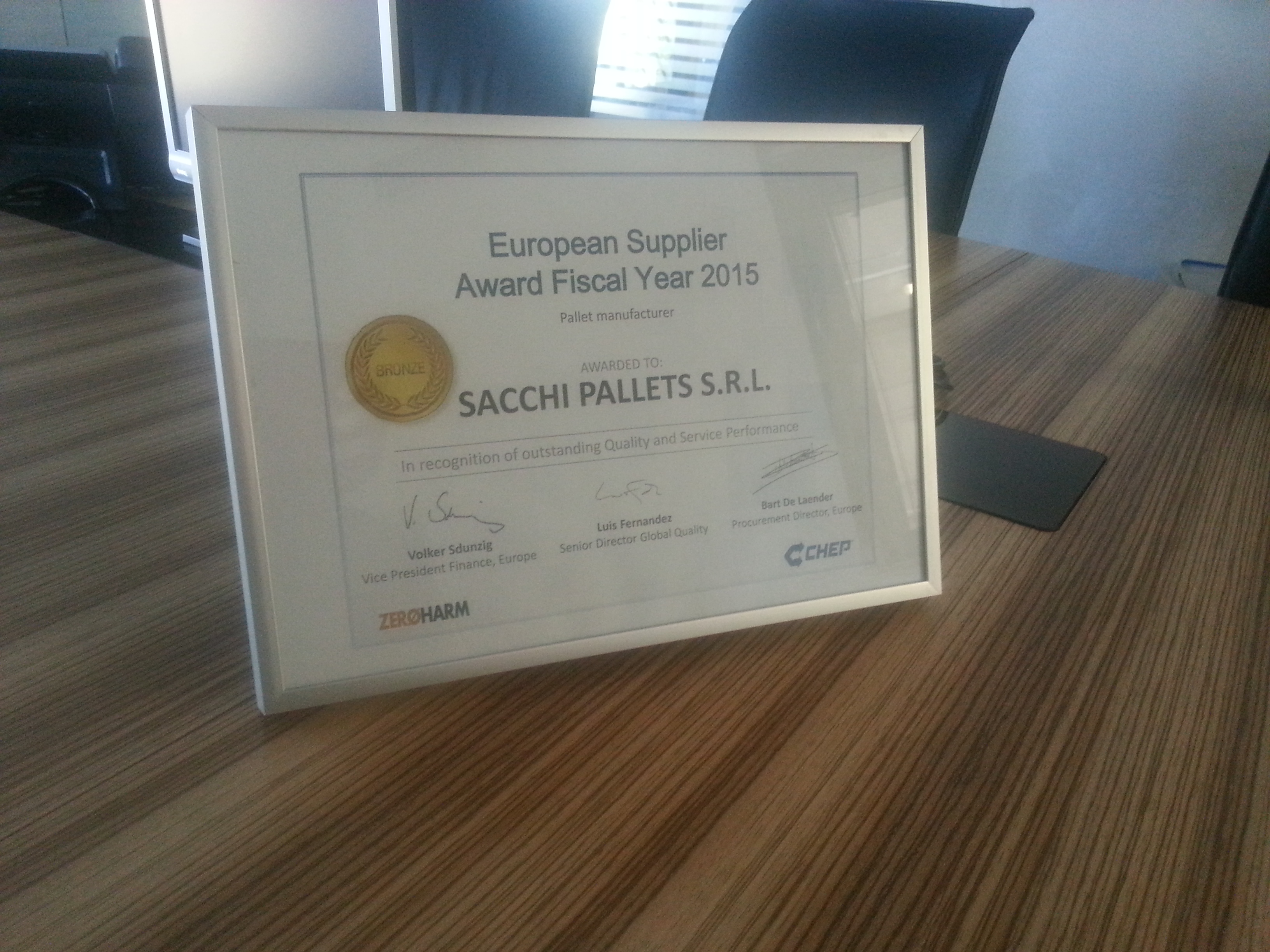 Chep European Supplier Award 2015 - Sacchipallets